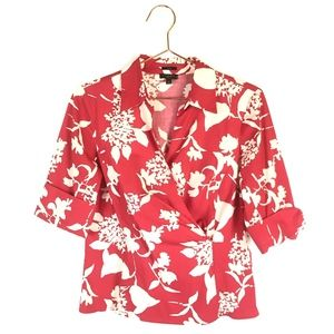 Talbots Size 6P Floral 3/4 Sleeves Top